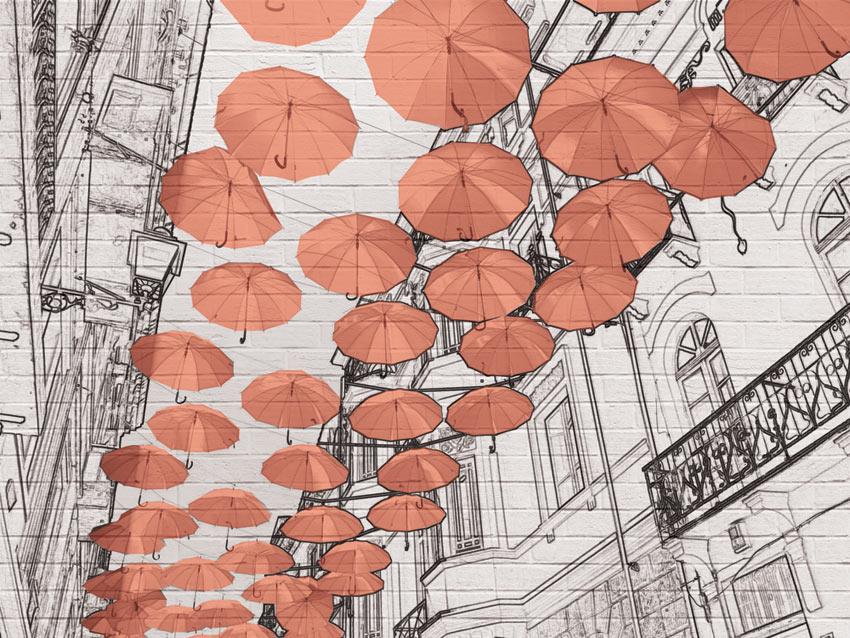 ombrelli carta da parati colore rosso