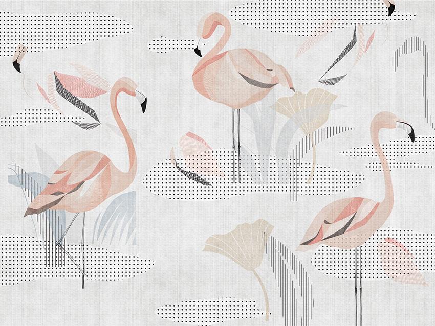 carta da parati flamingo colore 2