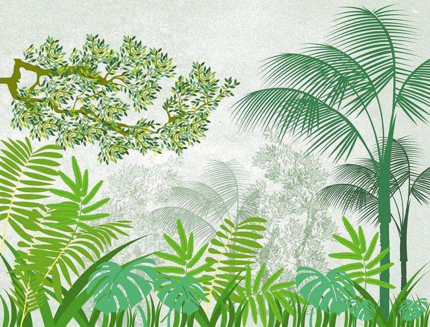 carta da parati giungla bianca