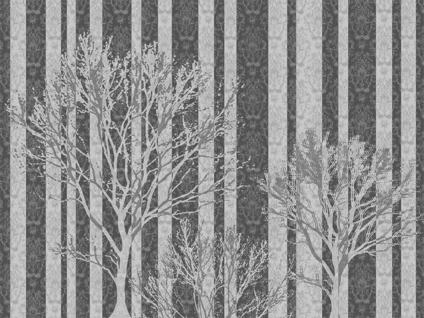 Decorazione Alberi a righe in tonalità di grigio. Codice colore A