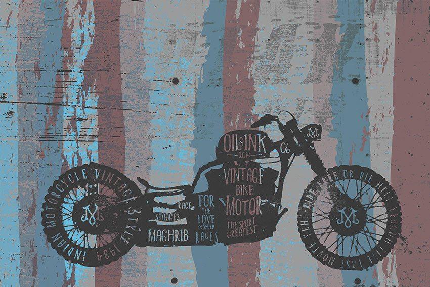 colori della carta da parati con la grafica della moto
