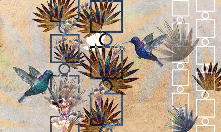 uccelli in volo carta da parati