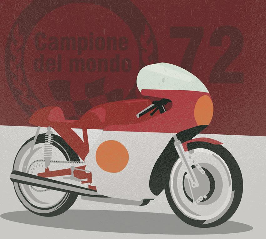 Grafica che raffigura una moto d'epoca. Primo colore
