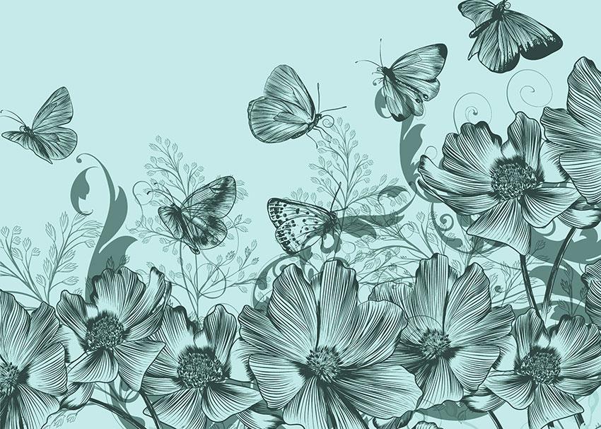 volo sui fiori carta da parati