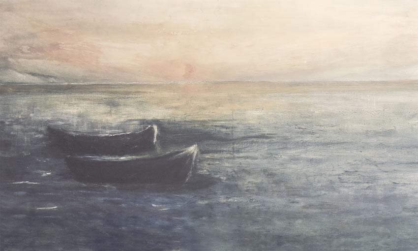 barche nel mare carta da parati