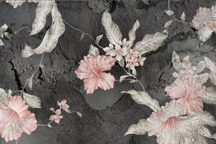 fiori su cenere carta da parati