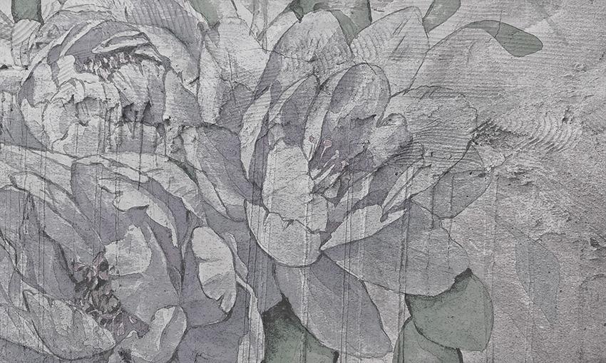 fiori su parete carta da parati
