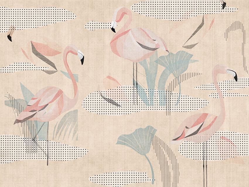 flamingo carta da parati