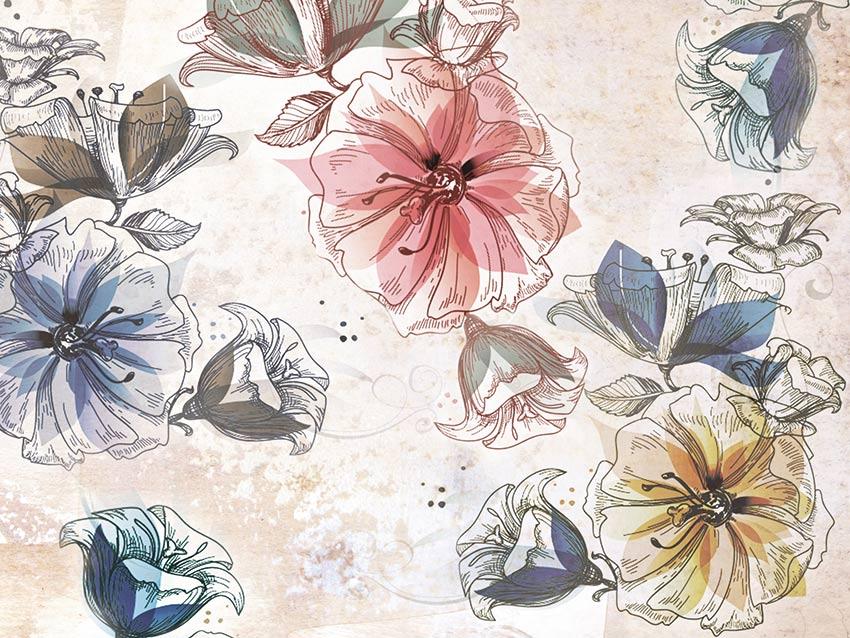 Grafica della carta da parati con motivi a fiori