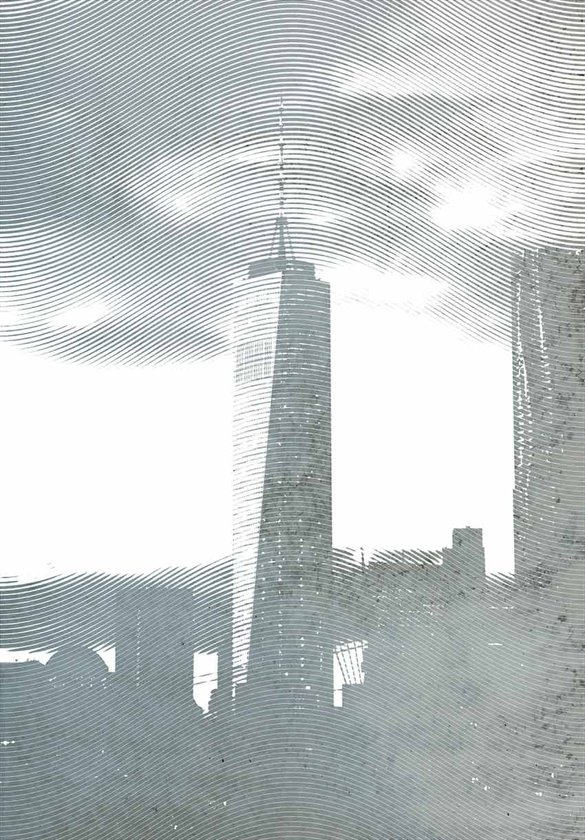 Carta da parati con l'immagine del principale grattacielo del New World Trade Center di New Yo