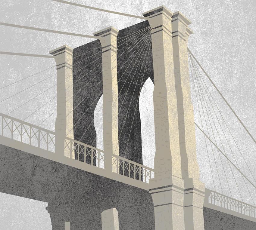 Grafica del ponte che collega tra di loro l'isola di Manhattan e il quartiere di Brooklyn