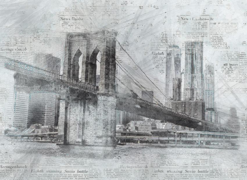 ponte nella nebbia carta da parati