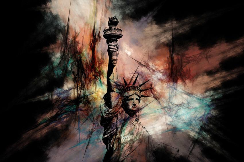 statua nella nebbia carta da parati