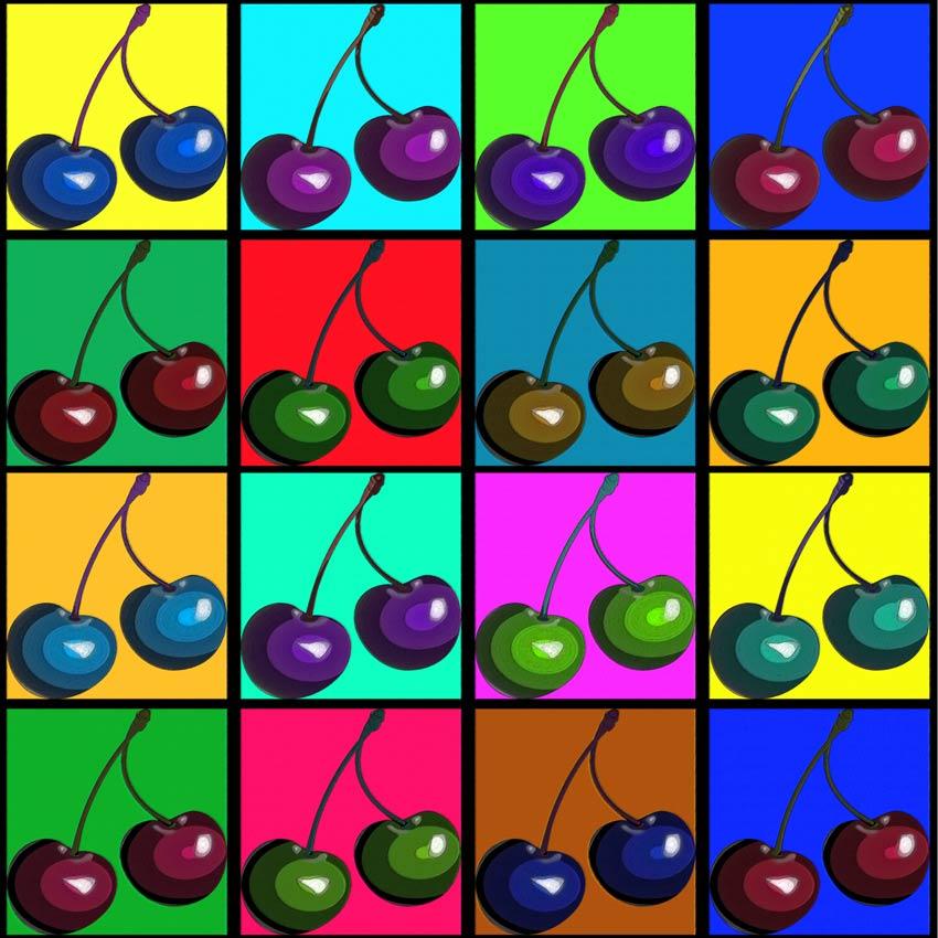 Prima variante di colore delle ciliegie pop art