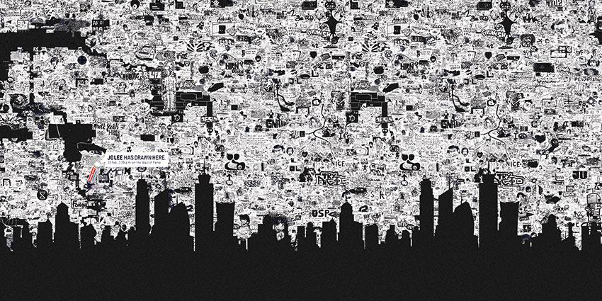 Grafica della carta con l'immagine di una città e dei graffiti