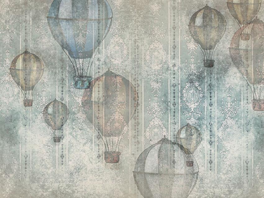 mongolfiere vintage carta da parati