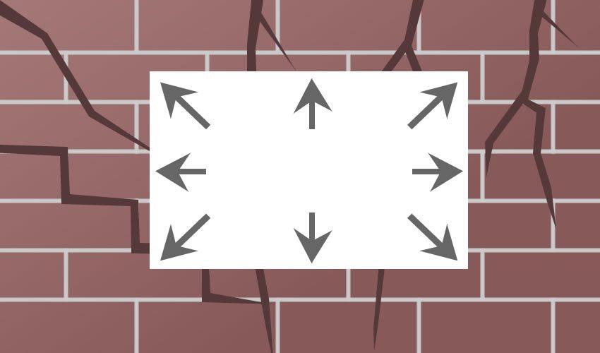 Tappezzeria rinforzata su muro prima di un terremoto